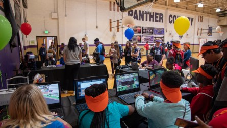 Students take a virtual tour of a substation. (Dennis Washington / Alabama NewsCenter)