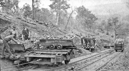 Red iron-ore mining operation at Irondale, in Jefferson County, during the early twentieth century. (From Encyclopedia of Alabama, courtesy of Birmingham Public Library Archives)