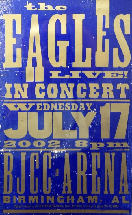 A poster advertising a 2002 concert by The Eagles is displayed at the BJCC. (Mark Almond/The Birmingham Times)