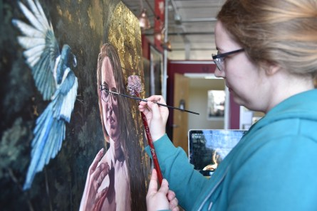 Jane Philips creates art that focuses on women and how they like to be presented. (Brittany Dunn / Alabama NewsCenter)