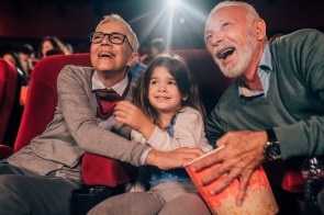 A family outing to a movie can be a good present for older people, who tend to value experiences over object-based products. (Getty Images)