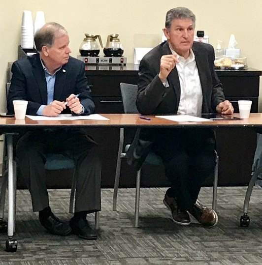 U.S. Sens. Doug Jones of Alabama and Joe Manchin of West Virginia attend a briefing at the National Carbon Capture Center in Wilsonville. (Michael Sznajderman/Alabama NewsCenter)