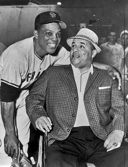 Willie Mays shown here with Roy Campanella, a Hall of Fame catcher who played for the Brooklyn Dodgers in the 1940s and 1950s. Campanella's career was cut short when he was paralyzed in an auto accident in 1958. (From Encyclopedia of Alabama, courtesy of Library of Congress)
