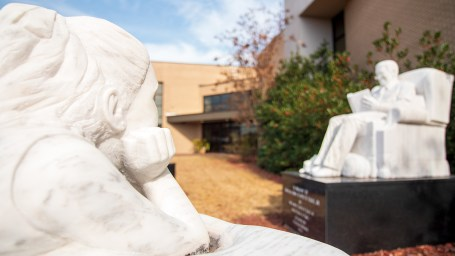 """Two of the four """"Once Upon a Time"""" pieces sculpted by Craigger Browne. (Dennis Washington / Alabama NewsCenter)"""