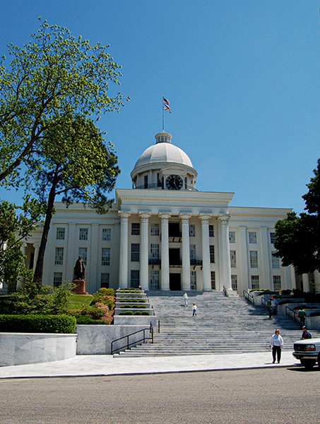 Alabama's State Capitol, in Montgomery. The building houses the offices of the governor and other members of the executive branch and was designated a National Historic Landmark in 1960. (From Encyclopedia of Alabama, courtesy of Alabama Tourism Department)