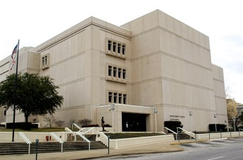 The Montgomery County Courthouse, called the Phelps-Price Judicial Center, is located in the county seat of Montgomery. It was constructed in 1987 in the Art Deco style. (From Encyclopedia of Alabama, photo by Chris Pruitt)