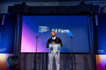 Deon Gordon, president and CEO of TechBirmingham, speaks at the Ed Farm announcement. (Nik Layman / Alabama NewsCenter)