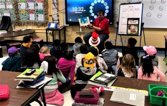 Hunter Sellers of the Alabama Power Service Organization participated in Read Across America at Eufaula Primary School. (contributed)