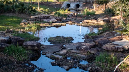 Rock step pools were created along the watershed to slow down stormwater, allowing sediment to drop before reaching Mobile Bay. (Dennis Washington / Alabama NewsCenter)