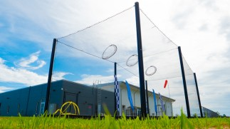 Visitors can test their flying skills in an outdoor netted drone aviary. (contributed)