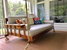 """Alabama craftsman David Belser has been making custom bed swings since 2012, taking Southern comfort and style to porches and patios from New Jersey to California. The swings, which range in size from crib to king, are made from Southern pine or cedar and have been featured on HGTV's """"Flip or Flop"""" series. (contributed)"""