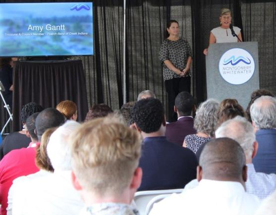 Amy Gantt of the Poarch Band of Creek Indians speaks at the Montgomery Whitewater groundbreaking. (Sara Herman / Alabama NewsCenter)