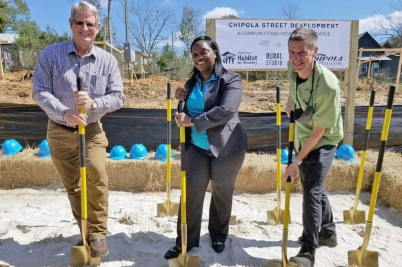 The grand opening of the Chipola Street development in Jackson County, Fla. on February 25, with partners, left to right, Darwin Gilmore of Chipola College, Carmen Smith of Chipola Area Habitat for Humanity and the Associate Director of Rusty Smith Rural Studio (Chipola Region Habitat for Humanity / Rural Studio)