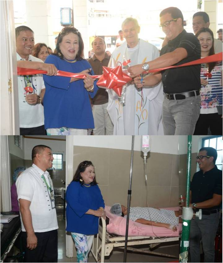 Former Mayor and city first lady Imelda T. Aguilar (2nd from left) formally opens the Ward 3 of Las Piñas Lying-In Center in addition to the two (2) maternity wards bringing a total of 15 beds that cater to expectant mothers and their babies. The event is part of the 15th anniversary celebration of the city lying-in facility that offers totally free maternal and child delivery services to city residents that include first dose of BCG and Hepa-B vaccines to new-born babies and the required new-born screening for a minimal fee. Mrs. Aguilar was assisted by City Health Officer Dr. Ferdinand Eusebio (left) and Dr. Julio Javier, Lying-in Center administrator with Rev. Fr. Gianni Sambalo officiating the blessing.