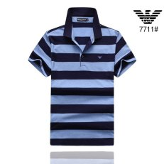 Men Polo Shirt Casual Striped Cotton