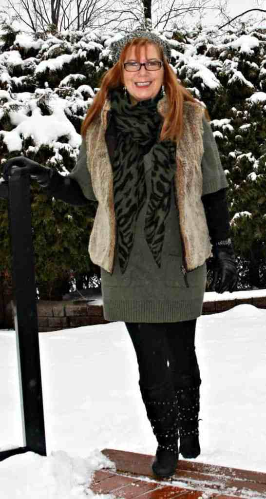 fur vest from Gap, scarf from Jacobs