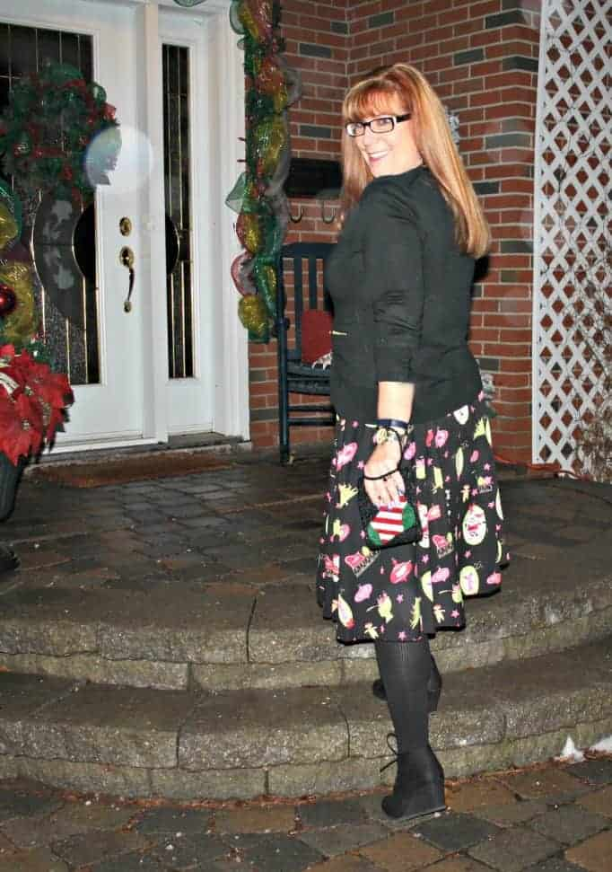 beaded purse from avon, christmas skirt