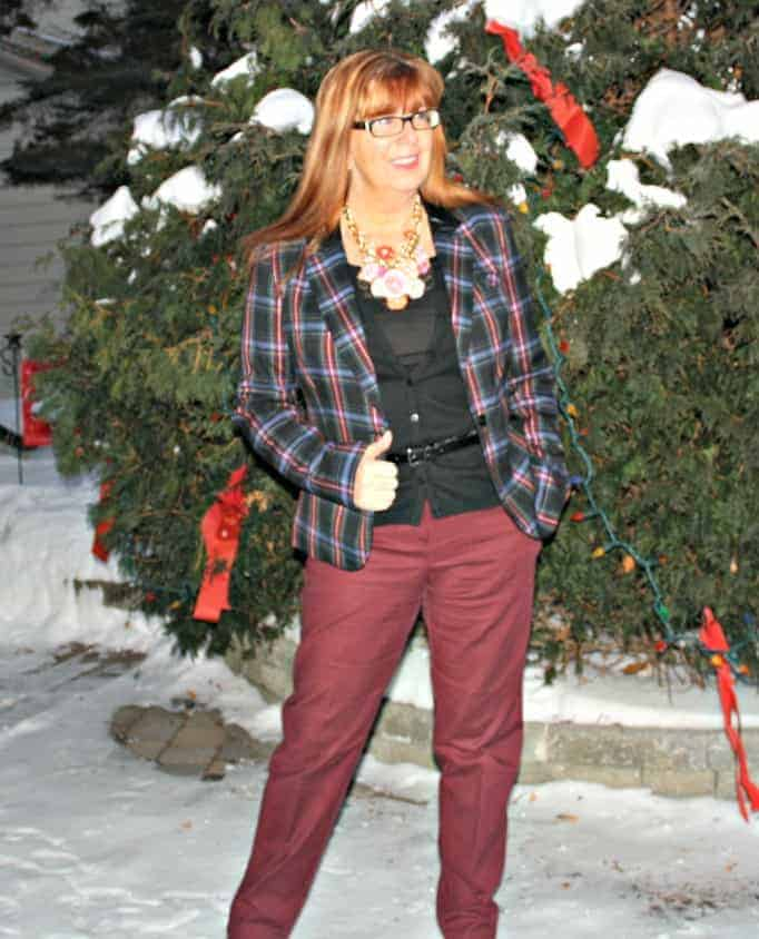 Target plaid blazer, Vanhesen Pants and Marks Sweater