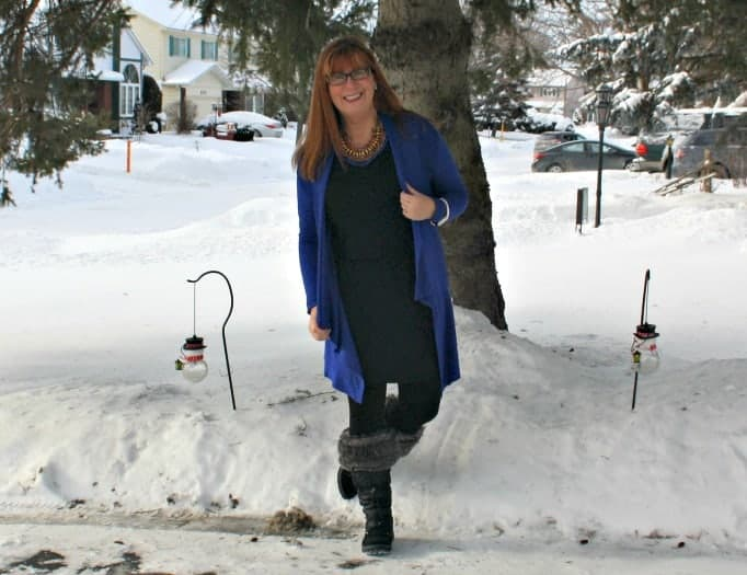 LBD with a Giant Tiger Royal Blue Cardigan