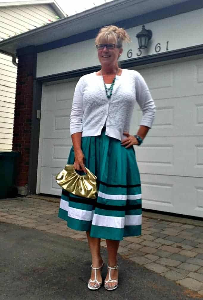 eshakti skirt and little white cardi