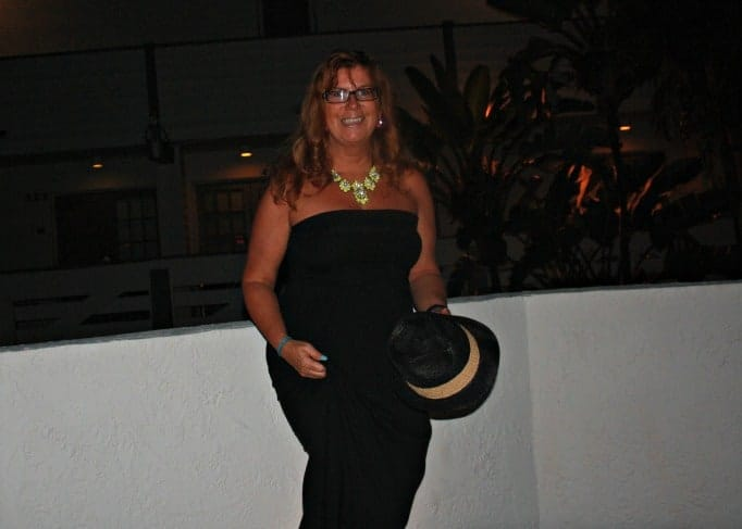 Black strapless maxi and a Fedora, Yosa Neon Necklace