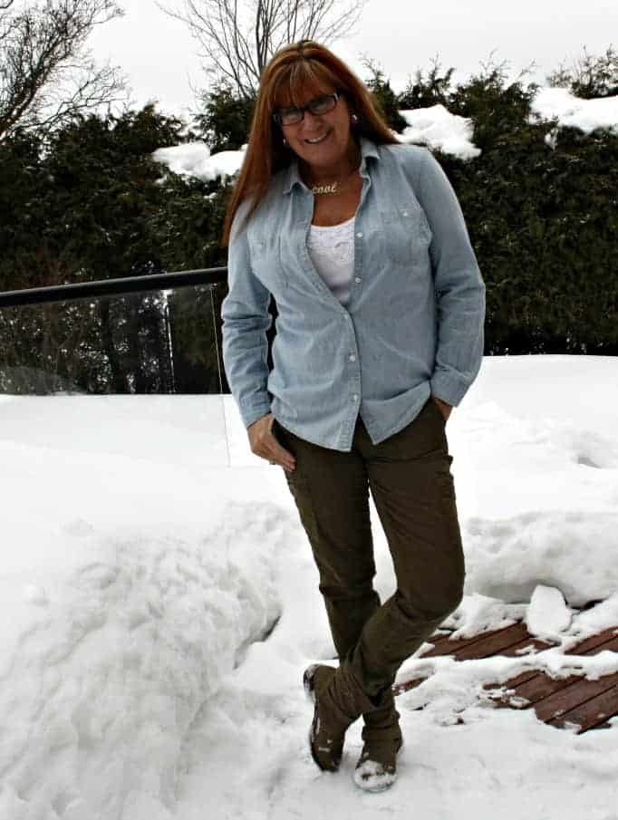 Old Navy Chambray, J Crew Khakis and Boots by George