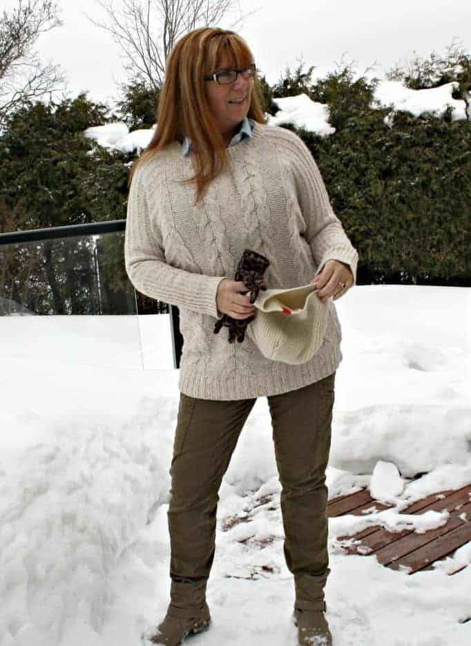 Banana Republic Cable Sweater,Old Navy Chambray, J Crew Khakis and Boots by George