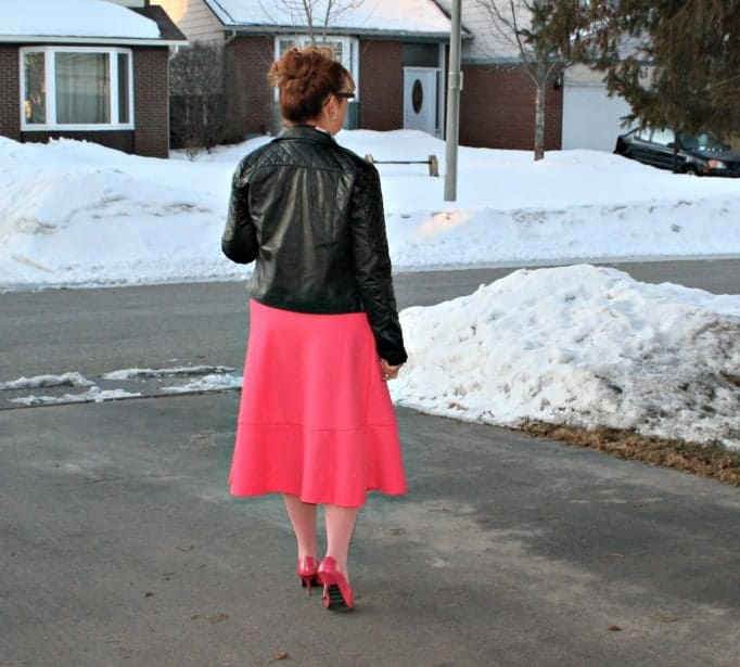 H & M Floral Shirt  Pink Skirt , necklace  Rue 21 Moto Jacket