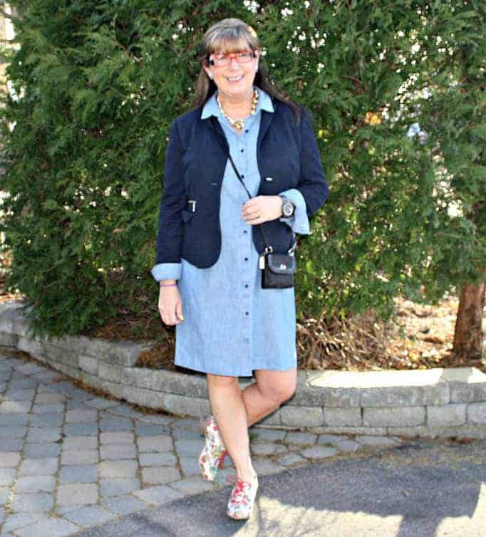 chambray dress, blazer and floral oxfords