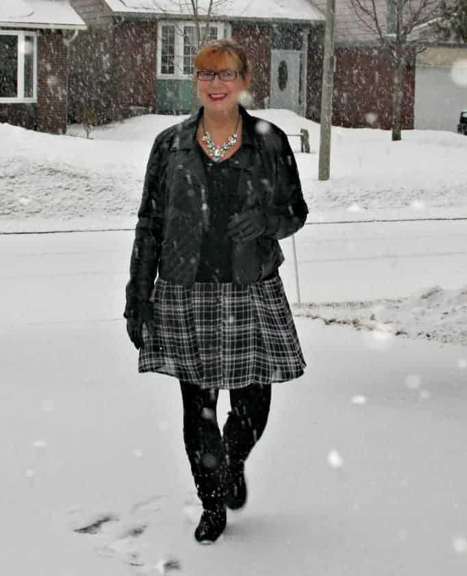 gingham dress, moto jacket, stud boots, cashmere sweater