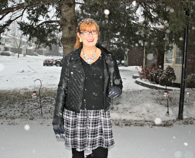 gingham dress, moto jacket, stud boots, cashmere sweater and yosa necklace