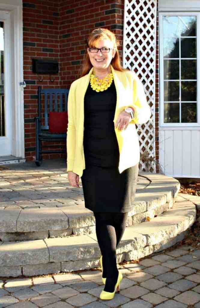 Vanheusen Yellow Cardigan with a Target LBD, Shoe Dazzle Yellow Signature Pumps and a statement necklace