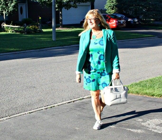 Classic Blazer and Shift Dress, converse and a beau bag