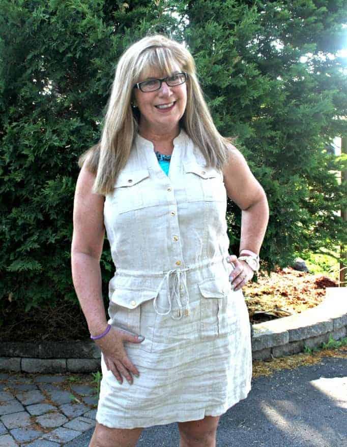 Michael Kors Linen Dress, Giant Tiger wedges and Kate Spade Watch