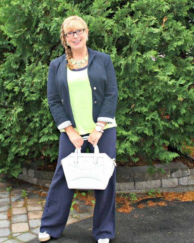 Old navy linen pants,neo cami by gap,  blazer , yosa necklace and Kate spade bag