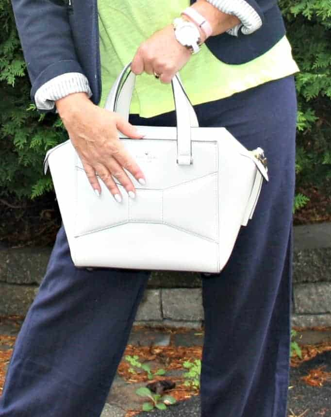 Kate Spade Beau Bag and Kate Spade Watch and a white mani