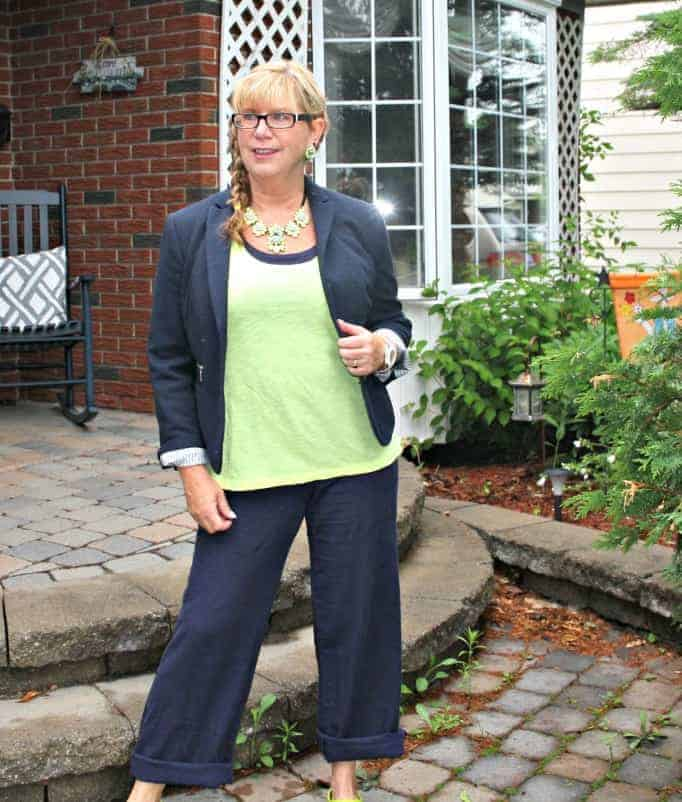 Old navy linen pants,neon cami by gap,  blazer and yosa necklace,