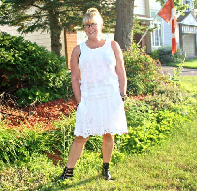 lace skirt, festival tank from Bluesfest and gladiators