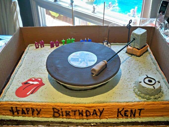 record player cake and stones album