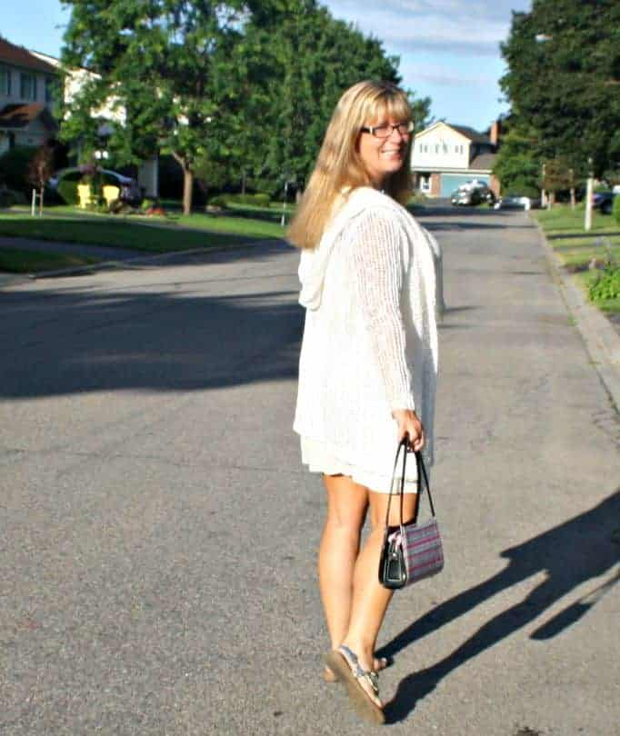 crochet cardi and kate spade purse