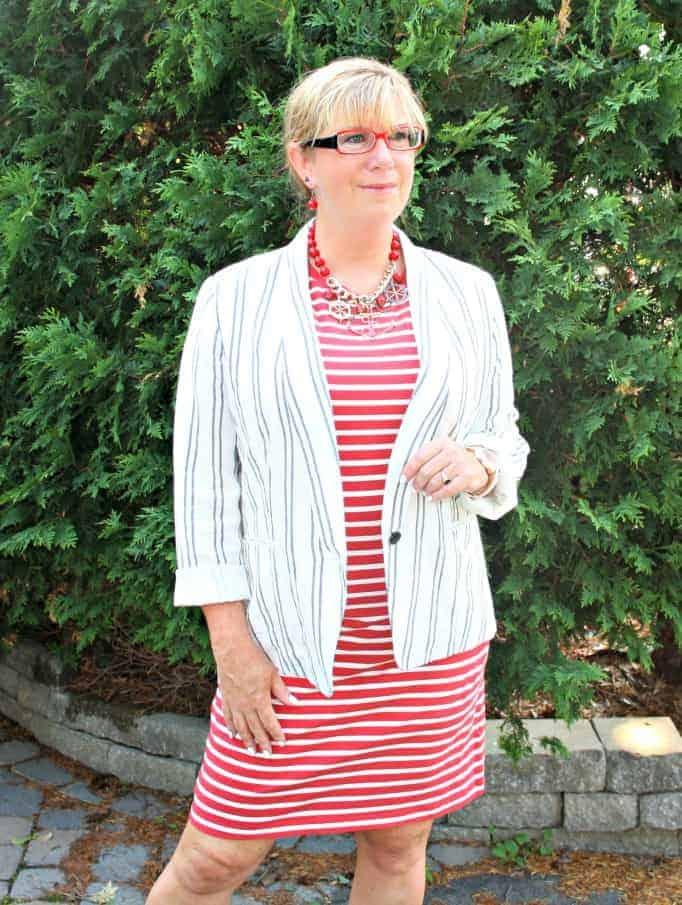 old navy stripe dress and linen blazer,