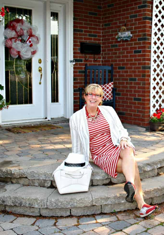 old navy stripe dress and linen blazer, red sneakers and a fedora