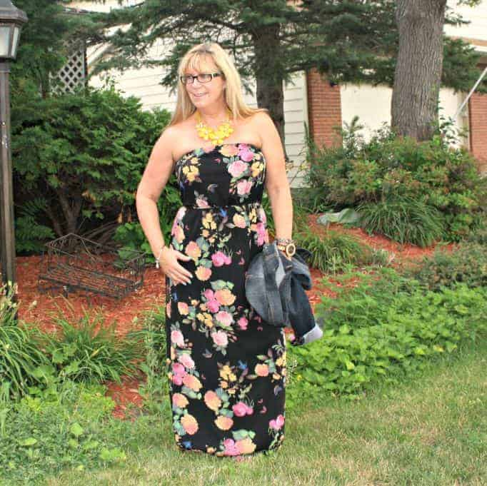Forever 21 Floral Chiffon Maxi and posh little k necklace