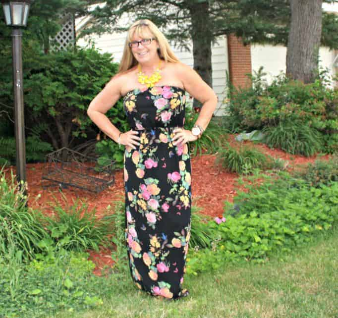 Forever 21 Floral Chiffon Maxi and floral necklace