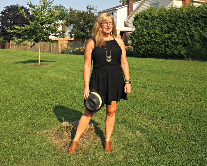 F21 chiffon dress, with fedora and booties and a #jordwatch