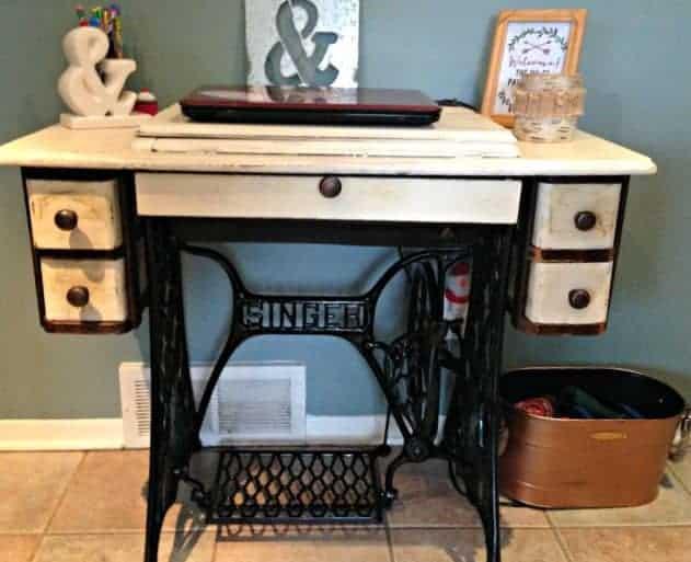 re-do singer sewing machine desk