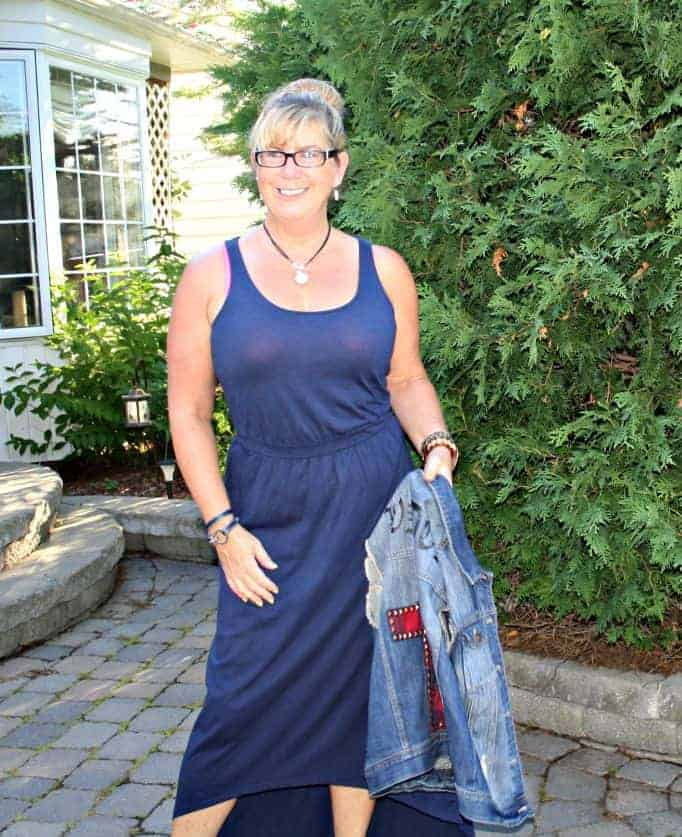 Target denim vest and an old navy maxi