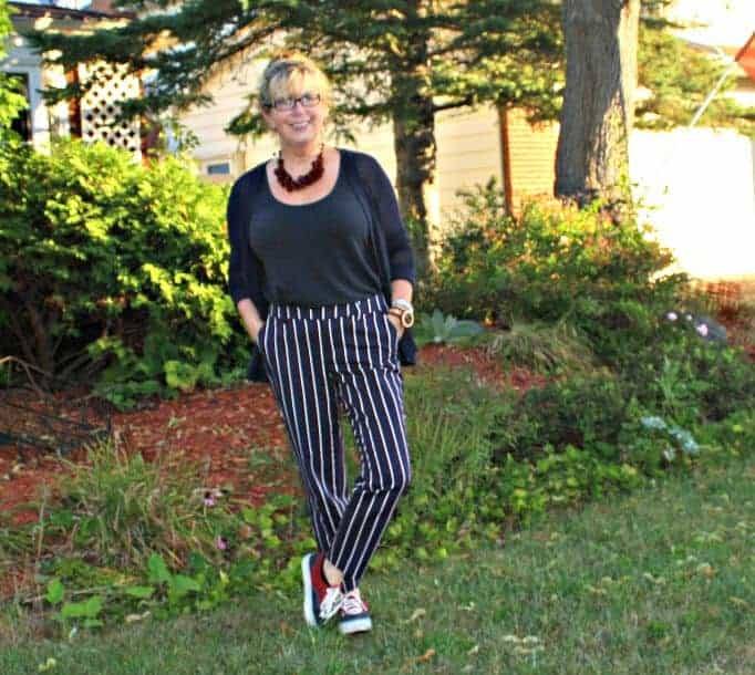 navy and burgundy striped pants by Old Navy