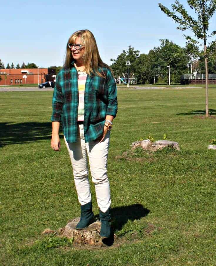 white denim and green flannel with a suede boot