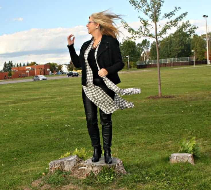 houndstooth duster and leather leggings with a moto jacket